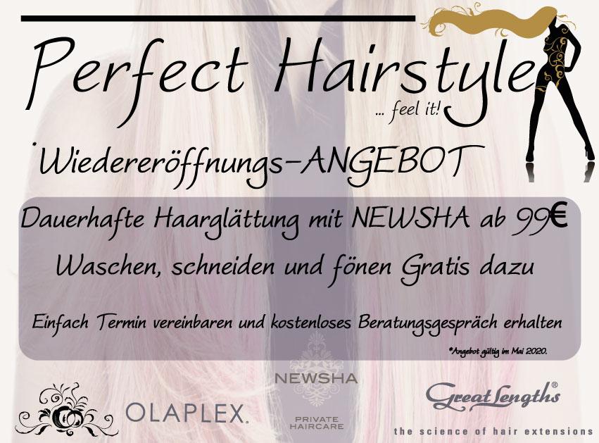 Wiedereröffnungs-ANGEBOT Wiedereröffnungs-ANGEBOT 2020 05 Perfect Hairstyle Mai Angebot 01